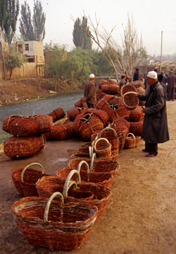Red river baskets along the Kashgar River before Market