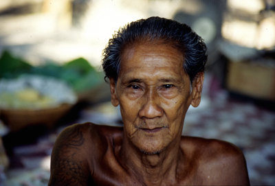 The tattooed man of the Ratchaburi Floating Market
