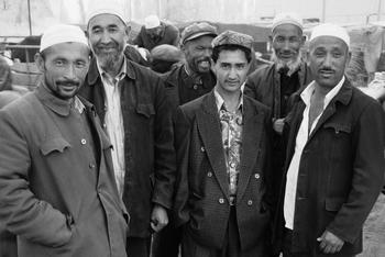 Uigher men, Kashgar, (1998) Photo (c) Karen Abrahamson
