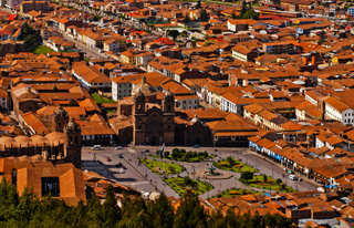 Cuzco's Plaza des Armas and the red roofs of the city from Sacsaywaman (2011) Photo (c) Karen Abrahamson