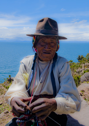 One of the knitting old men of Isla Tranquile, Lake Titicaca, Peru (2011) Photo (c) Karen Abrahamson