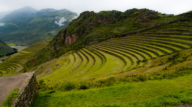The terraces of Pisac with the ruins of the fortress on the bluff behind (2011) Photo (c) Karen Abrahamson