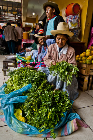 Women with their 'spot' picked out. Ollantaytambo (2011) Photo (c) Karen Abrahamson